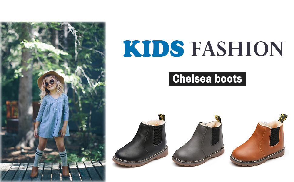 Athlefit Toddler Boots Girls Boys Chelsea Winter Snow Boots Little Kids Toddler Ankle Boots