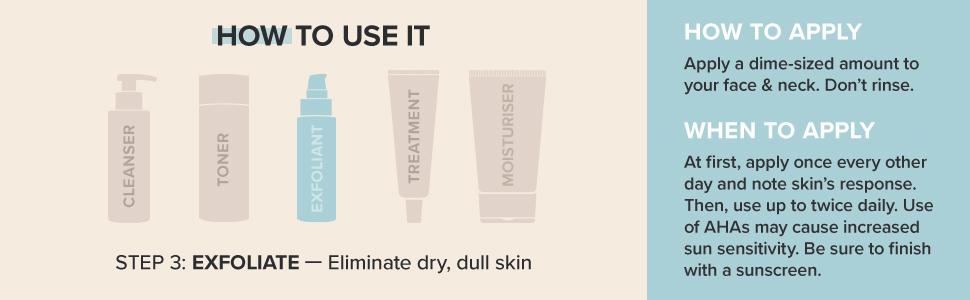 AHA Gel Exfoliant eliminates dry, dull skin providing lasting hydration and a brighter skin tone.
