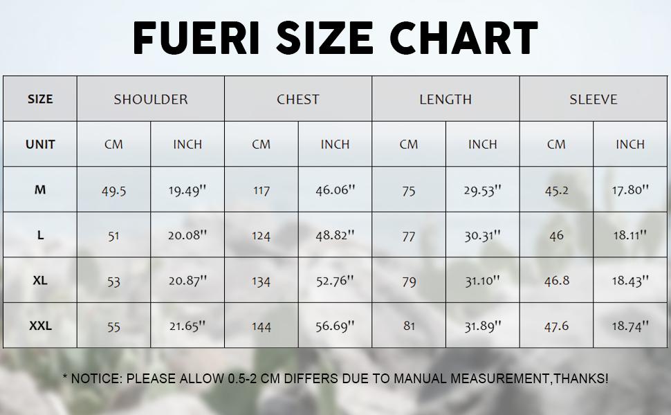 size chart M-XXL