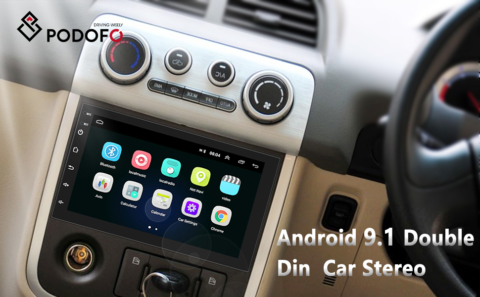 Podofo Android 9.1 Double Din Car Stereo