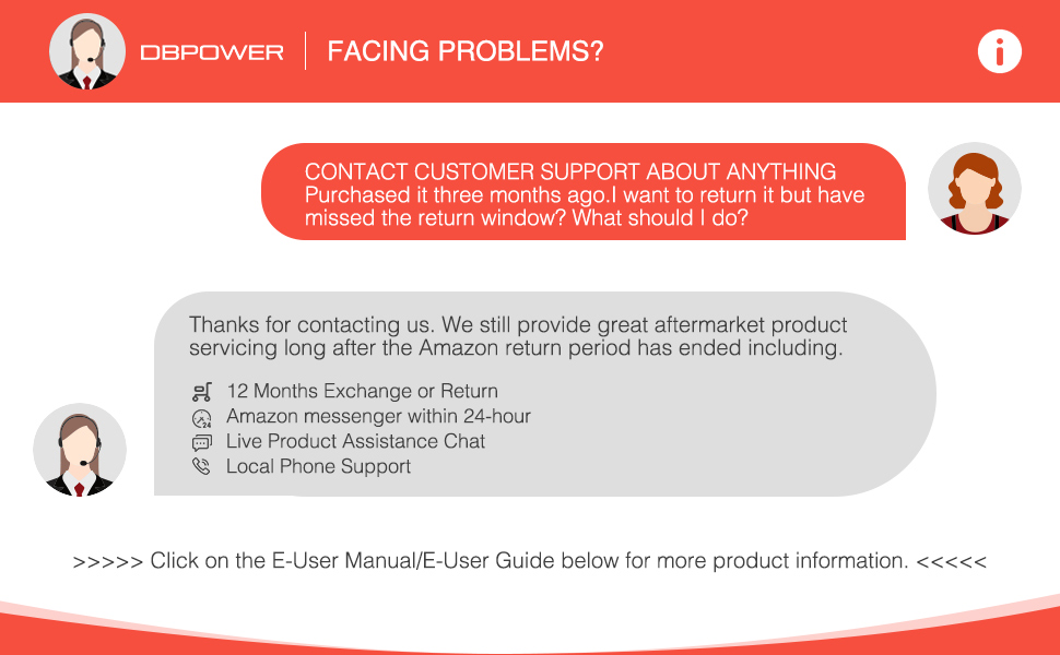 24-hours after-sales service and 12-months exchange or return