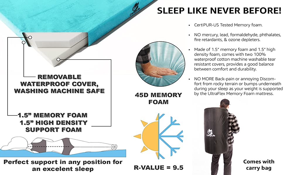 Bed Topper Memory Foam Mattress For Sleeping and Car Camping Kids Play Mat