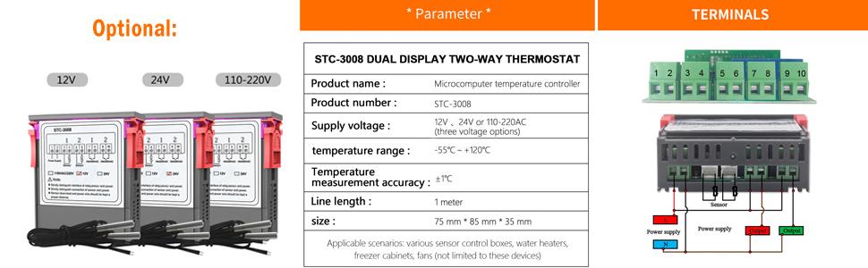 Gaoominy 66 Cm Cavo Termostato Regolatore Di Temperatura A 2 Pin Per Frigoriferi