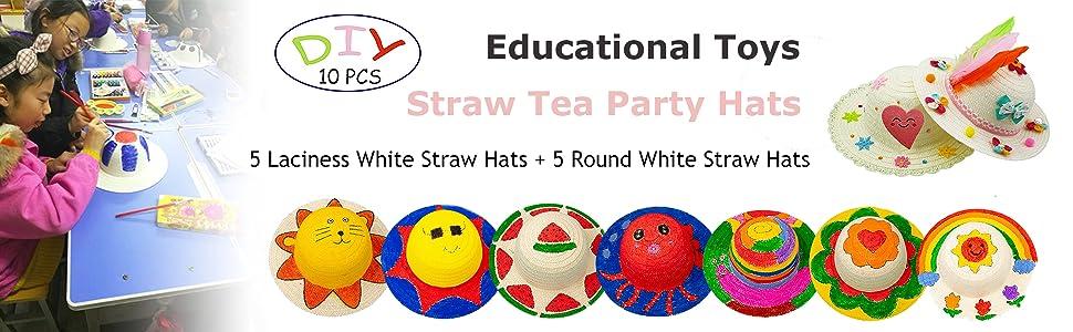 straw tea party hats