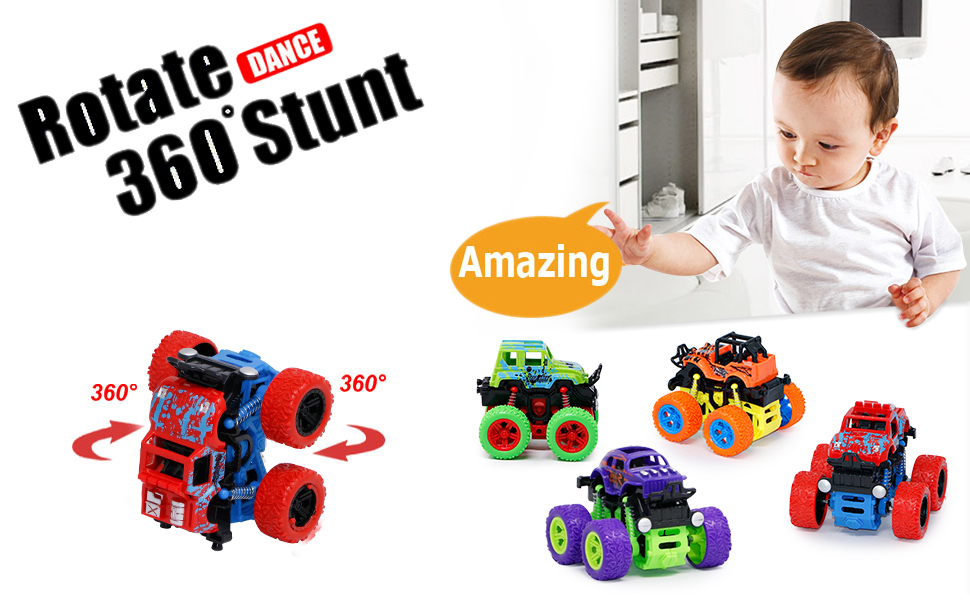 friction monster truck car construction boys unbreakable Friction Powered vehicle push and go toys