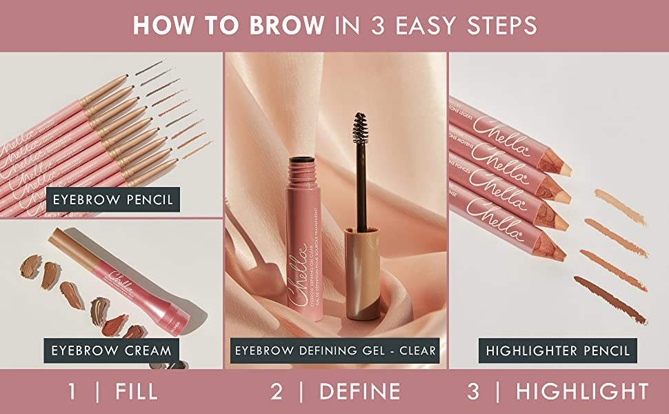 Complete the look Pencil Cream Clear Gel Highlighter Chelle Chella Eyebrow Brow makeup