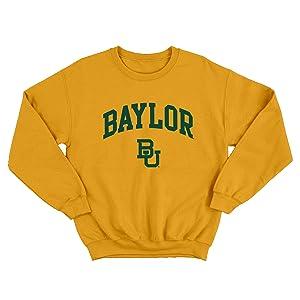 UGP Campus Apparel NCAA Arch Logo Crewneck Sweatshirt Baylor Bears Gold