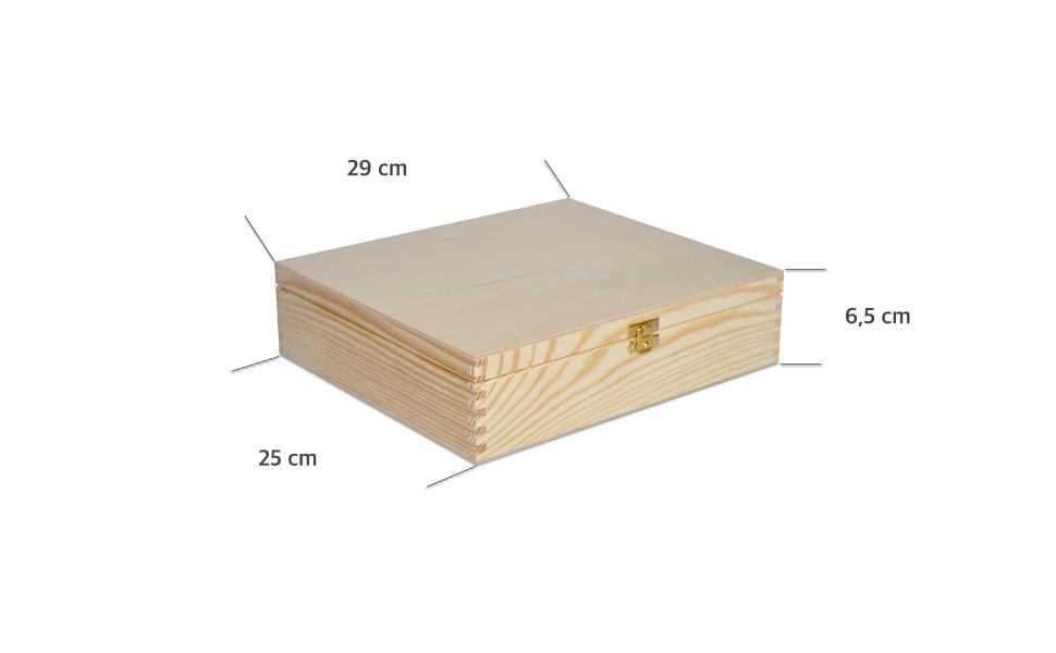 Creative Deco Plana Caja Madera para Decorar con Tapa | 29 x 25 x 6,5 cm | Decoración Decoupage Almacenaje Herramientas Documentos Objetos de Valor Juguetes: Amazon.es: Hogar