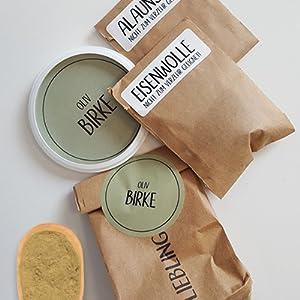 myboshi F/ärbe-Set No Plastic Bag mit Lieblingsfarben zum Naturf/ärben Blauholz Birke F/ärbewolle
