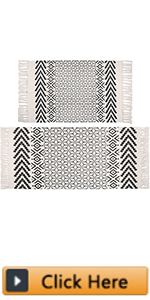 Cotton Area Rug Set 2 Piece Washable Printed Cotton Rugs with Tassel Woven Fringe Cotton Rug Runner