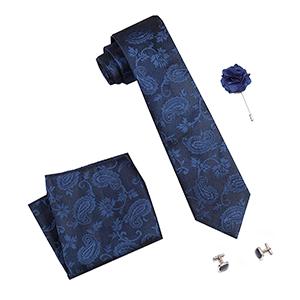 Men's Silk Summer Stain Resistant Necktie, Pocket Square, Cufflinks Set (Blue, Free Size)