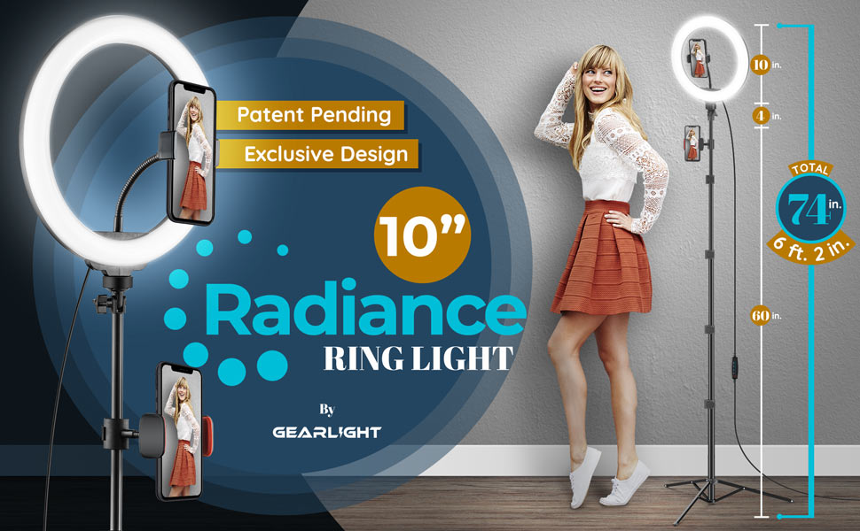 10-inch ring light with tripod stand