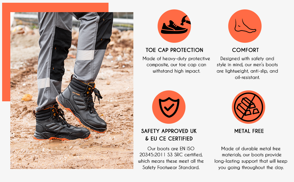 Stylish & comfortable safety boots meets heavty duty S3 SRC wide fit