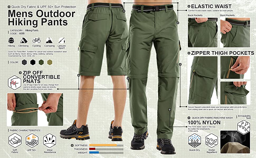 Cargo Work Pants with Pockets Mens Hiking Pants Quick Dry Lightweight Fishing Camping UPF 50