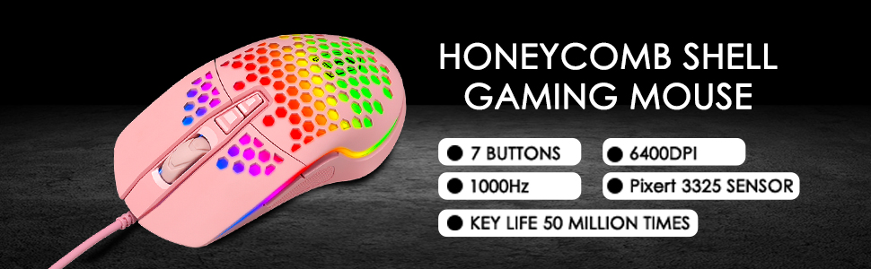 Honeycomb shell gaming mouse