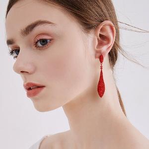 red drop earring for women bride