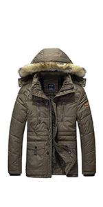 Men's Winter Thicken Windbreaker Jacket Parka Fleece Puffer Jackets Coat with Removable Hood