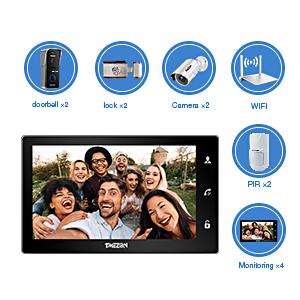 IP WiFi 10 Pouce Moniteur /Écran Tactile 720P Sonnette de Cam/éra Filaire Intercom Porte vid/éo Vision Nocturne Surveiller Via Smartphone D/éverrouiller /à Distance TMEZON Visiophone Interphone Sonnette