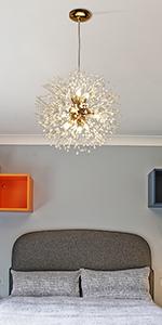 9 Light Modern Dandelion Crystal Chandeliers