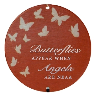 Memorial Gift - Wind Chime, bronze butterfly design showing wording
