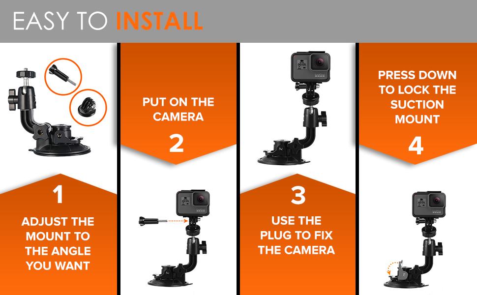 Easy to mount any action camera Xiaoyi Xiaomi Yi APEMAN Campark Hero 8 7 6 5 to your car windscreen