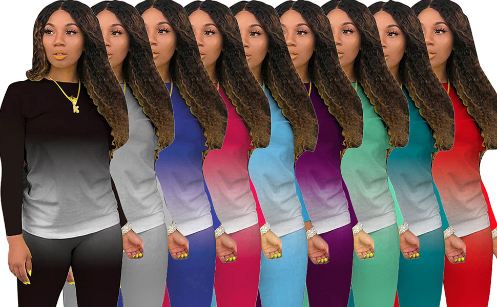Tie Dye Women 2 Piece Outfits Sets for Women Sexy Bodycon Sweatsuits Plus Size
