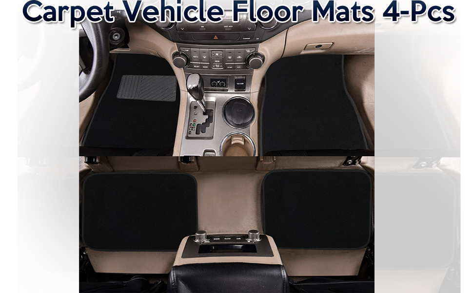 Zone Tech All Weather Carpet Vehicle Floor Mats 4 Piece Black Premium Quality Carpet Vehicle Floor Mats Plus Vinyl Heel Pad for Additional Protection