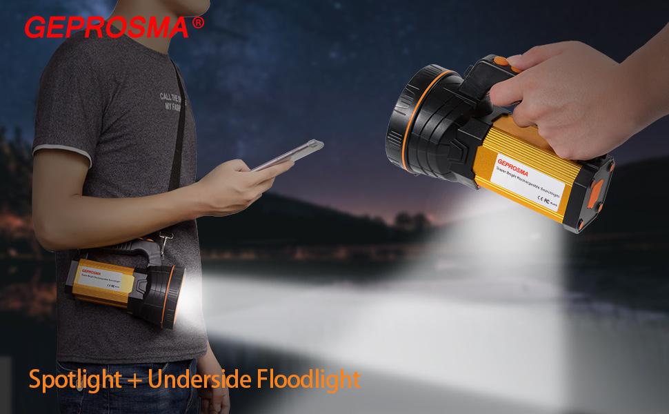 High lumen super bright rechargeable led spotlight flashlight searchlight handheld