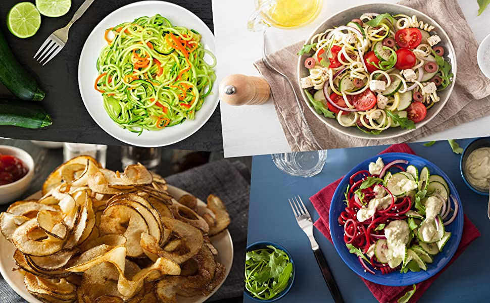 Collage of spiralizer dishes
