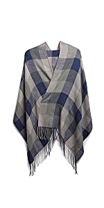 Winter Long Soft Warm Tartan Check Scarves Wraps for Women Wool Spinning Tassel Shawl Stole Scarf