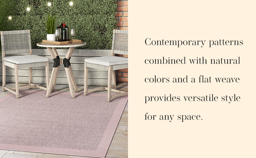 Well Woven area rug contemporary indoor outdoor water resistant blue solid color border