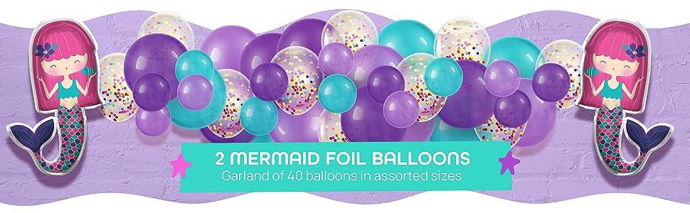 Mermaid foil balloons latex balloon garland kit
