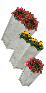 Outdoor traditional modern fiber clay pottery sturdy flower pot planter set comparisons