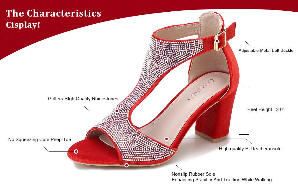Women/'s Fashion Peep Toe Casual Date Shoes Block Mid Heels T-Strap Roman Sandals