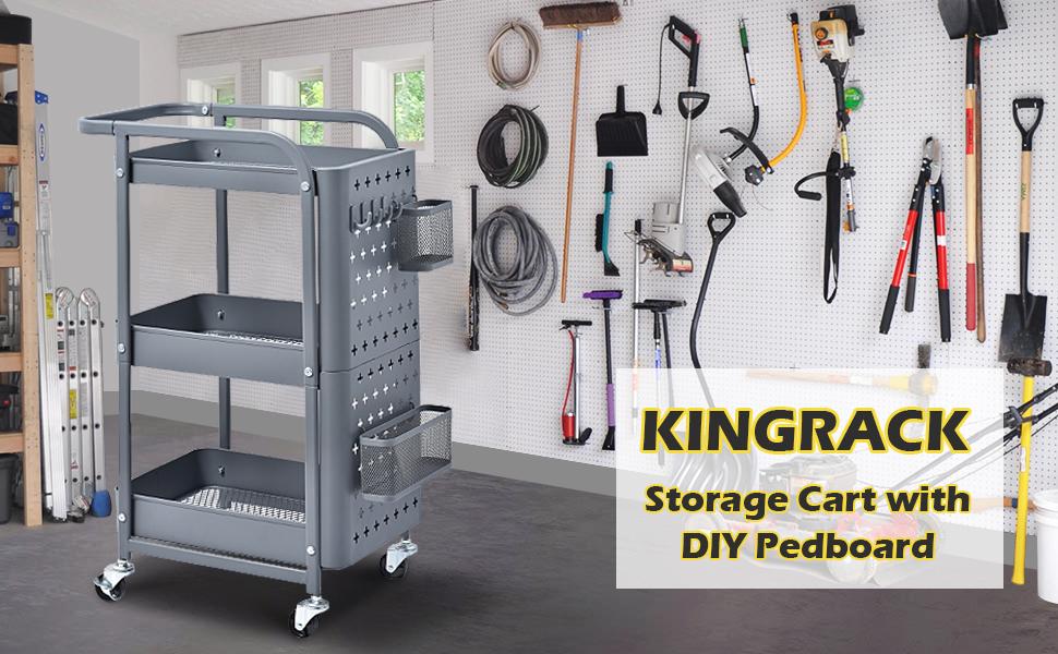 KINGRACK STORAGE CART WITH DIY PEDBOARD