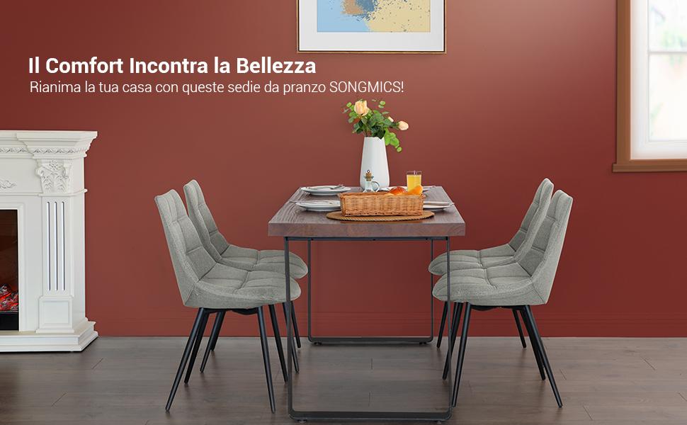 SONGMICS Set di 2 Sedie da Pranzo, Sedie da Cucina Moderne