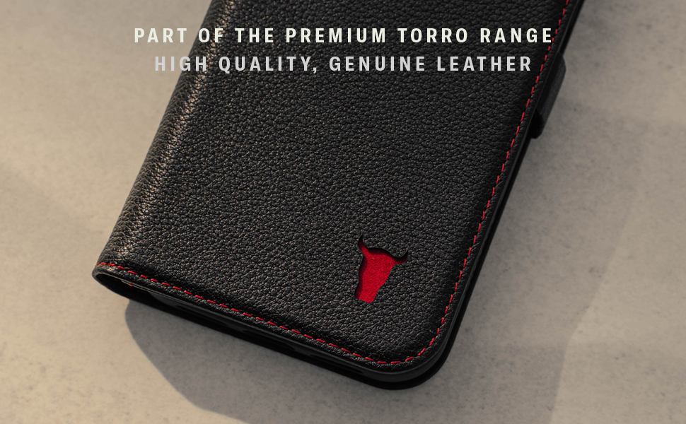 TORRO Black Leather Stand Case for Apple iPhone 12 Pro Max