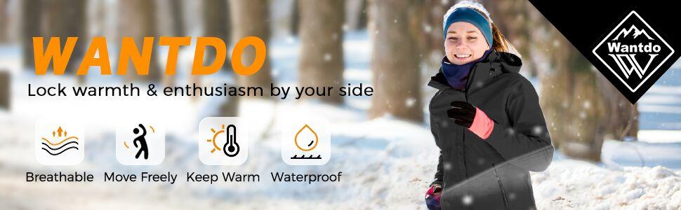 Women's Ski Jacket Winter Coats Fleece Lined Rain Jacket
