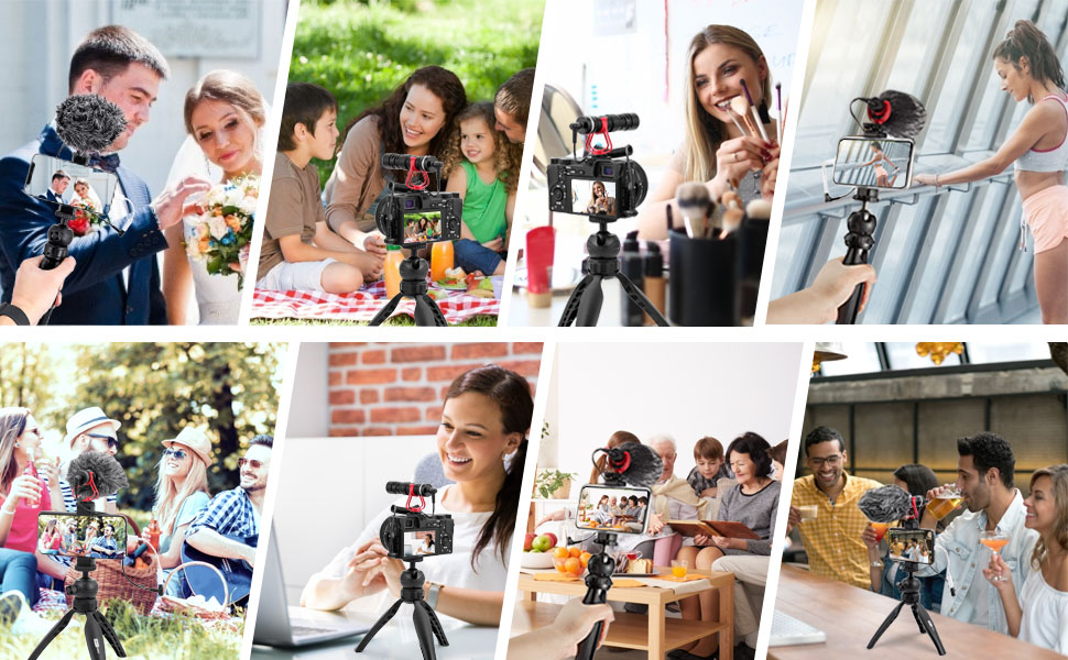Photography Videography videographer vlogger studio microphone kit use scene smartphone accessories