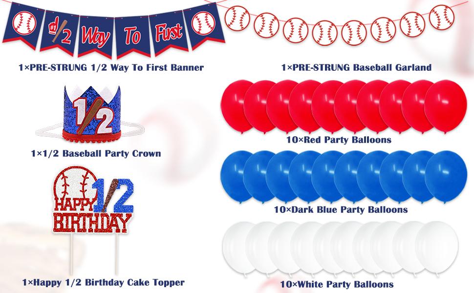 Baseball 12 birthday banner Half way to First banner half birthday decorations Baseball theme Half birthday boy banner Cake Topper
