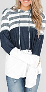 Casual Hoodies Long Sleeve Drawstring Sweatshirts Striped Pullover Top