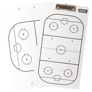 Murray Sporting Goods Dry Erase Hockey Coaches Clipboard - Front: Full Rink, Back: Half Rink
