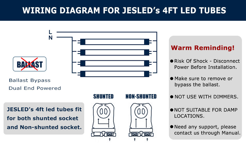 fluorescent wiring diagrams row jesled t8 4ft led tube light bulbs  24w 5000k daylight  3000lm  4  jesled t8 4ft led tube light bulbs  24w