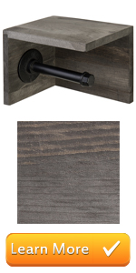 Wall Mounted Wood amp; Pipe Toilet Paper Holder amp; Shelf