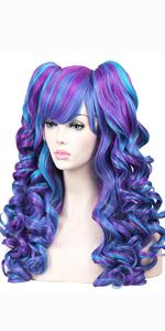 blue purple wig