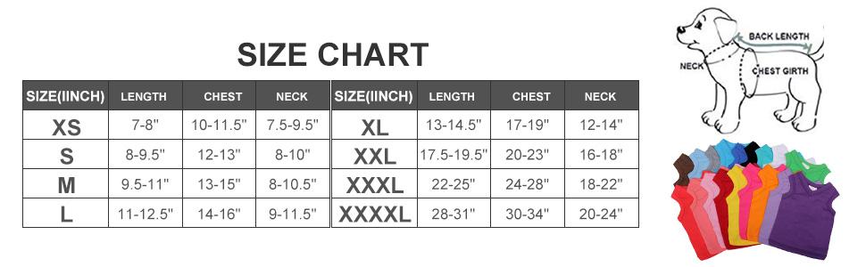 Dog Tank Top Size Charts of Lovelonglong