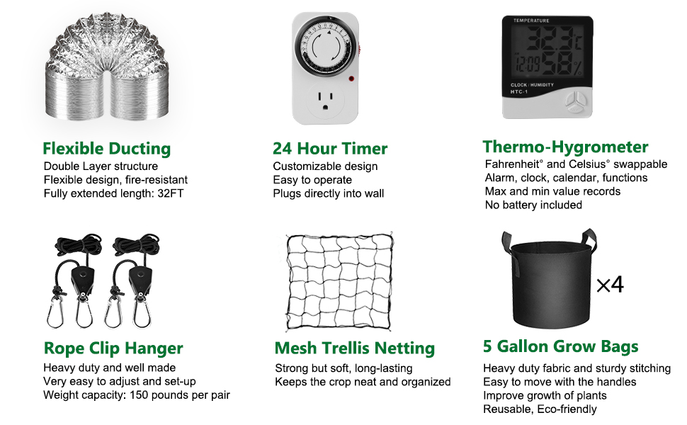 ducting, fan speed controller, thermometer and hygrometer,Timer, 5 Gallon Grow Bags, netting