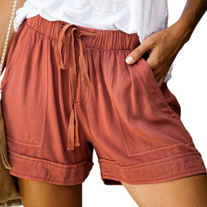 CTIGERS Women Casual Drawstring Elastic Waist Summer Beach Shorts with Pockets Shorts Pants M-XXXXXL