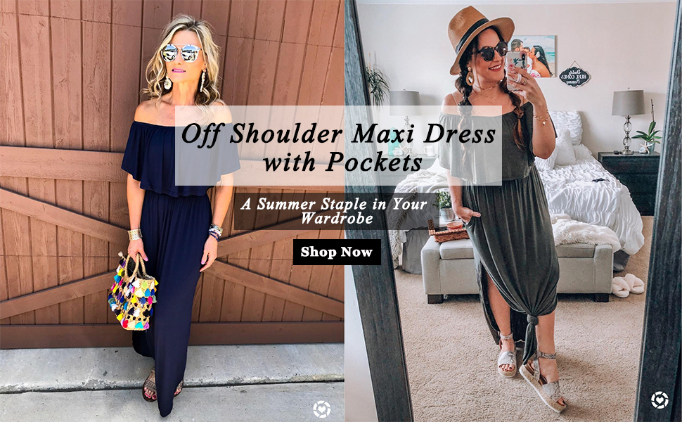 Off Shoulder Maxi Dress with Pockets