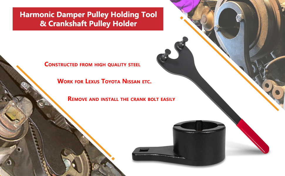 Harmonic Damper Pulley Holding Tool Crank Removal Wrench Crankshaft Pulley Hold